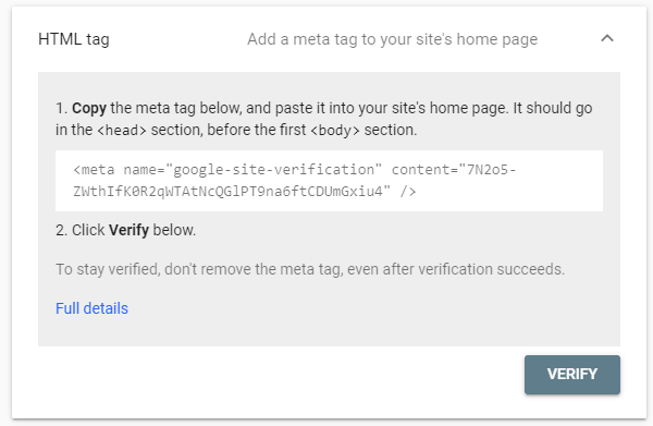 google search console verify yoast seo tag