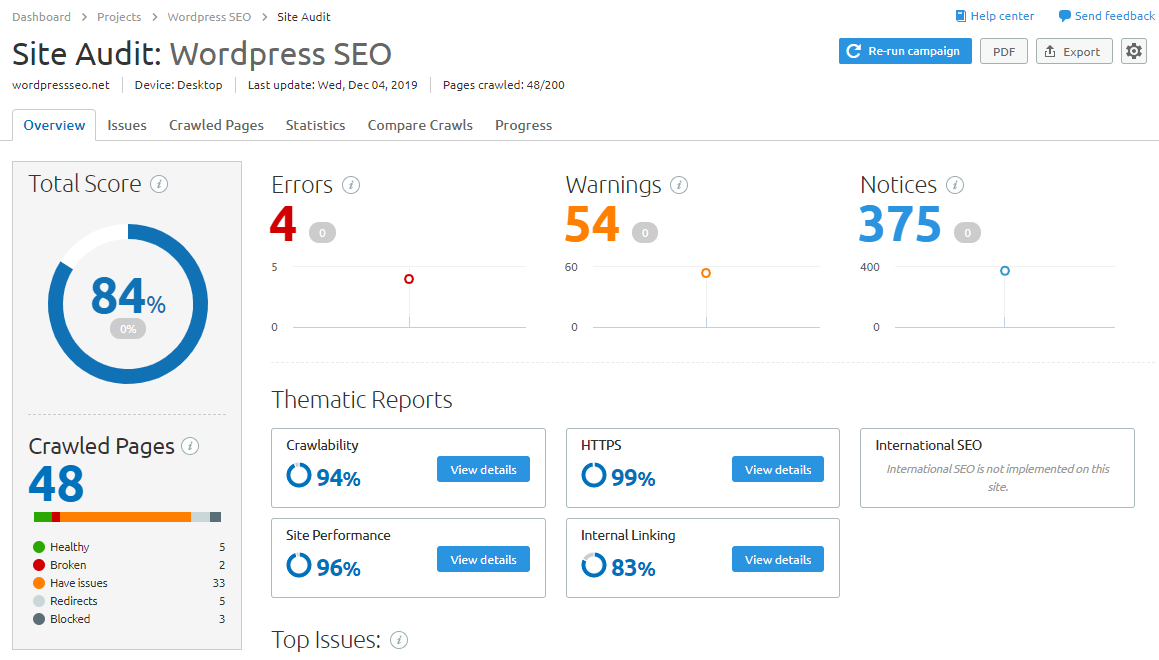 semrush audit tool