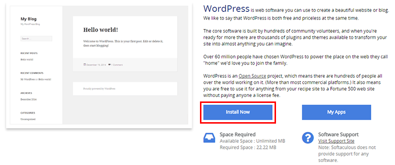 1 click install wordpress softaculous