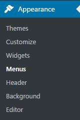 apperance menus wordpress
