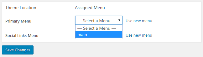 assign menu location