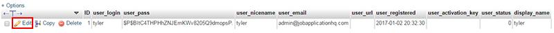 edit user phpmyadmin wordpress