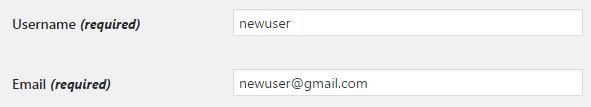new username password wordpress