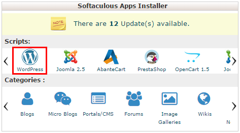 softaculous app installer wordpress