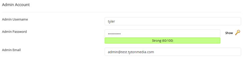 wordpress admin account softaculous