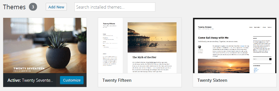wordpress default themes