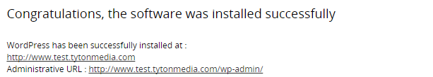 wordpress succesfully installed
