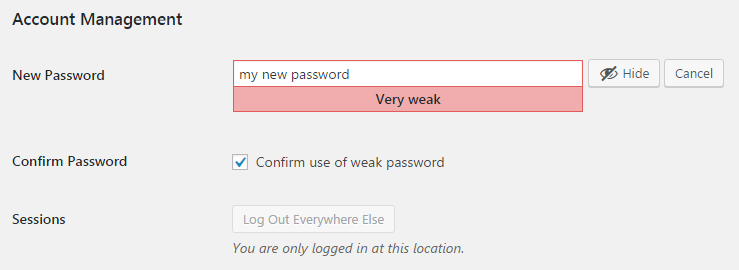 wordpress weak password