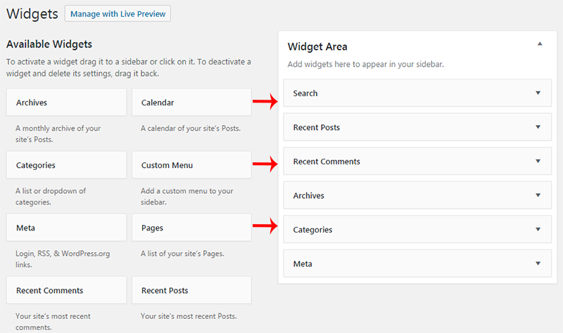 wordpress widgets sidebar