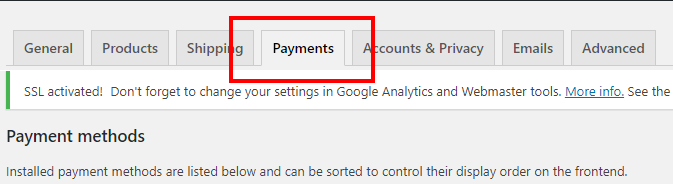 woocommerce payment tab