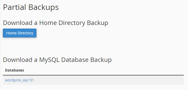 partial backups
