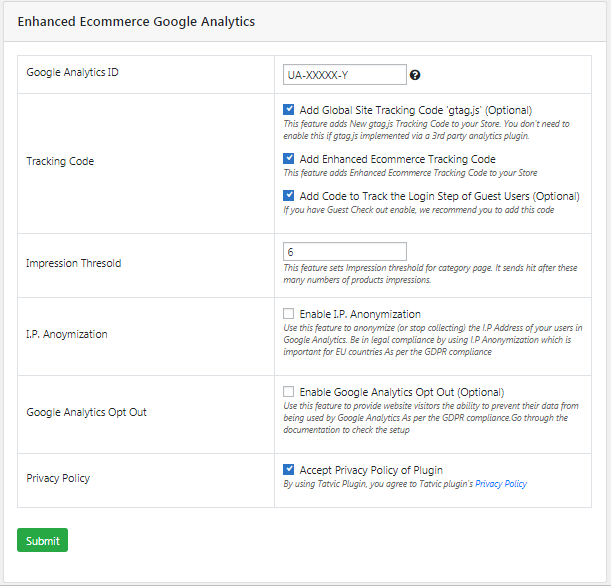enhanced ecommerce settings