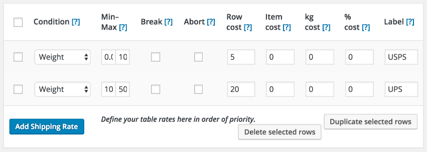 woocommerce table rate plugin