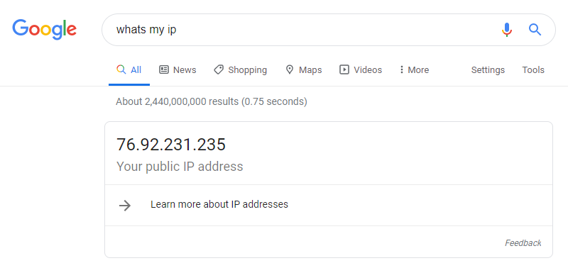 google whats my ip address