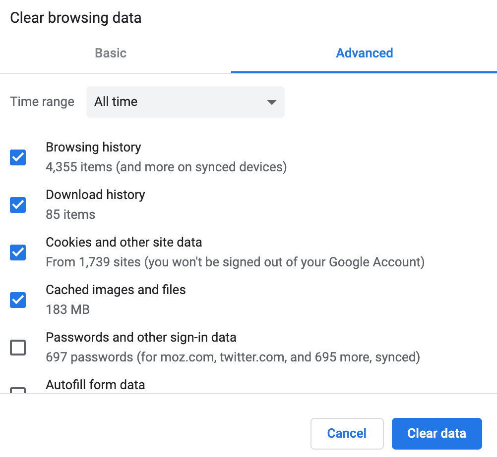 delete browsing data google chrome