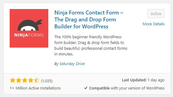 ninja forms install plugin